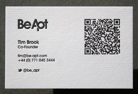 Qr codes printed via letterpress uk letterpress and hot foil examples pressed by the limit pushing blush publishing these business cards were produced on 540gsm from gf smith and showcase a delicate blind deboss on the reheart Image collections